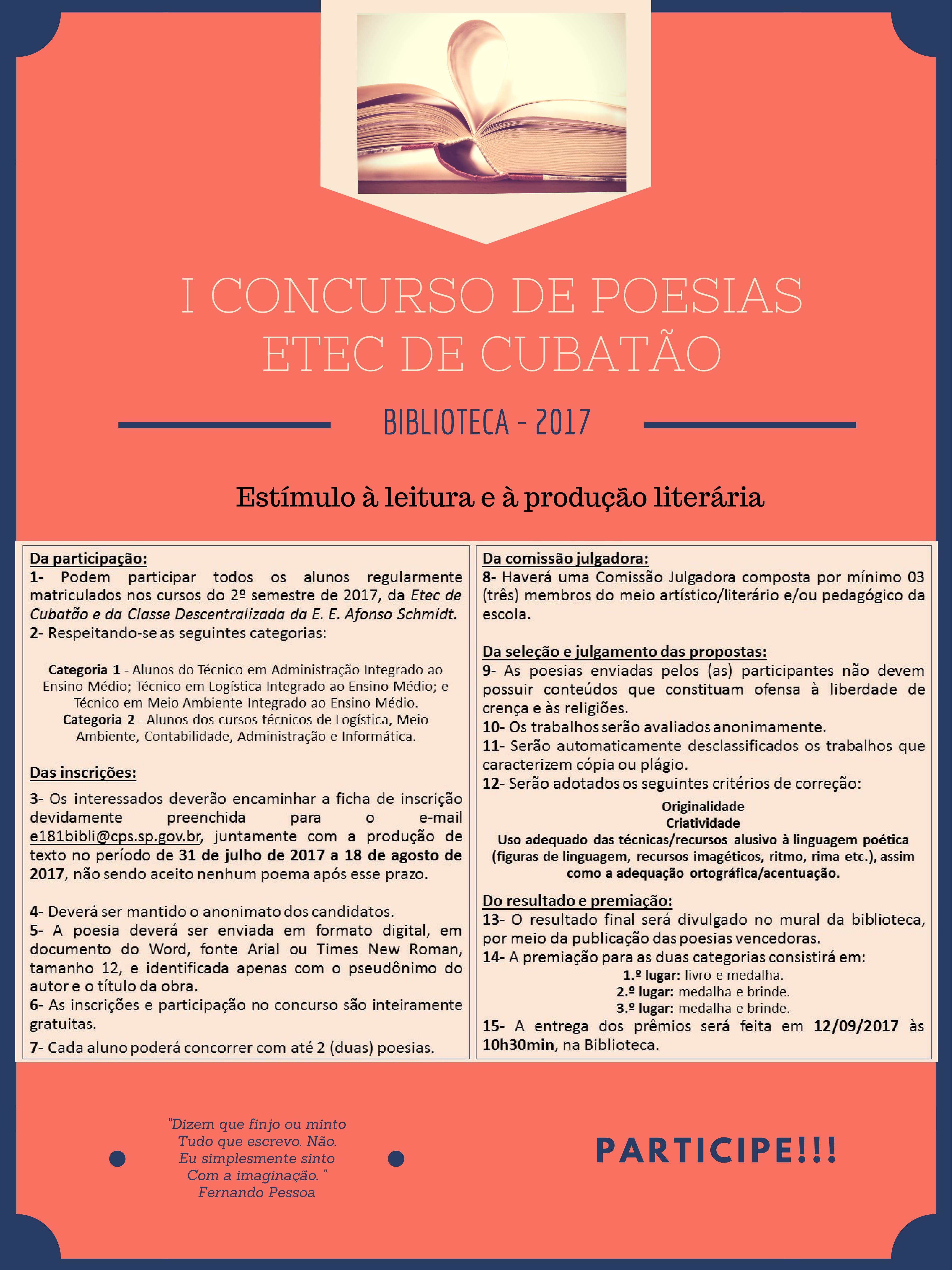 Cartaz - regulamento- concurso de poesia